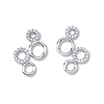 Four Circles CZ & Shiny Earrings