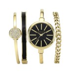 Anne Klein Yellow Gold Bangle Watch & 3 Bracelet Set - 1470GBST