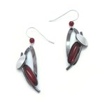 Black Rhodium & Red acrylic Oval Dangle Earrings