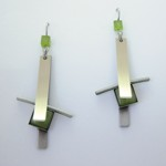 Long Brushed Two-tone Rectangle Earrings - Green Catsite
