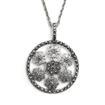 Marcasite Flowers in Circle with Chain