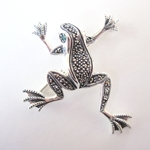 Frog Pin in Sterling with Marcasite
