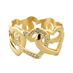 Yellow Gold plated Heart and Crystal Hinged Bracelet