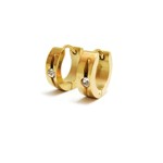 Yellow gold Plated Steel Huggies with Tension-set CZ