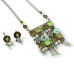 Green Mix Squares and Circles Necklace Set