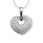 Pave Heart Pendant with Rhodium-plating