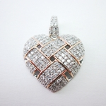 Sterling Pave Cubic Zirconia Heart w/Rose gold Plate
