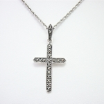 Plain Marcasite Cross in Sterling Silver