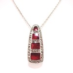 Red Enamel 4-Windows Marcasite Pendant