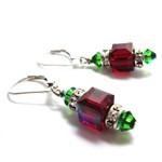 Festive Holiday Cube Earrings for Christmas