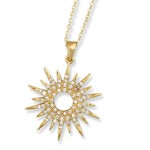 Gold plated Small Sunburst Pendant with CZs