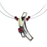 Red Acrylic Rectangle Swoosh on Multiwire Necklace