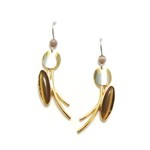 Beige Tan Shiny Yellow Gold Curved Dangles