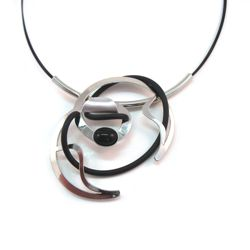 Shiny Silver and Black Rubber Necklace on Black Nylon