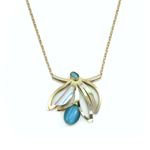 POLY Shiny Gold and Bright Blue Floral Necklace - 22""