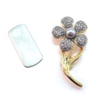 Magnetic Flower Brooch with Crystals & Grey Faux Pearl