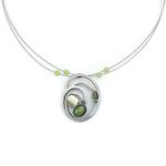 POLY Brushed Two-tone Green Catsite Oval Necklace