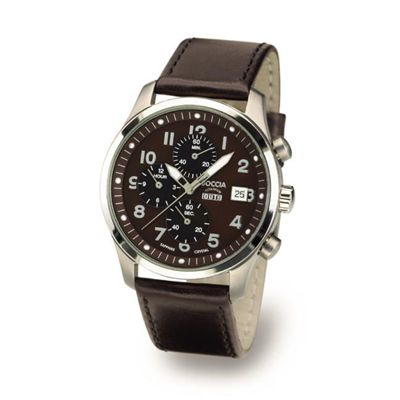 Boccia Titanium Brown Dial Chronograph Watch - 3780-02