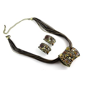 Brown Multicord Necklace Set - Olive stones