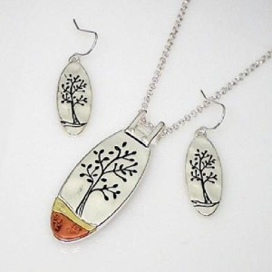 Oval Tree of Life Set with Copper Accent