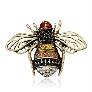 Bronze and Rhinestone Bee Brooch