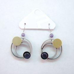 Purple Catsite Double Circle Dangle Earrings by POLY