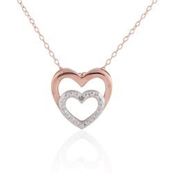 Sterling Silver and Rose-gold Plated Double Heart w/Dia Accent