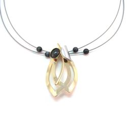 Shiny Gold Leaf Style Necklace with Charcoal Cat's Eye