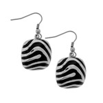 Steel Square Dangle Earrings with Black Resin Stripes - SSE4288