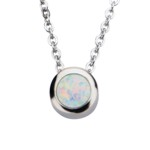 White Opal in Stainless Steel Bezel-set Necklace